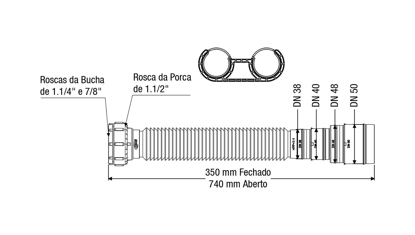 Sifão Tubo Extensível Com Suporte Universal 7150 Censi