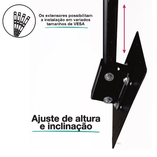 """Suporte Articulado Para TV De Teto 32"""" a 65"""" Prime Tech"""