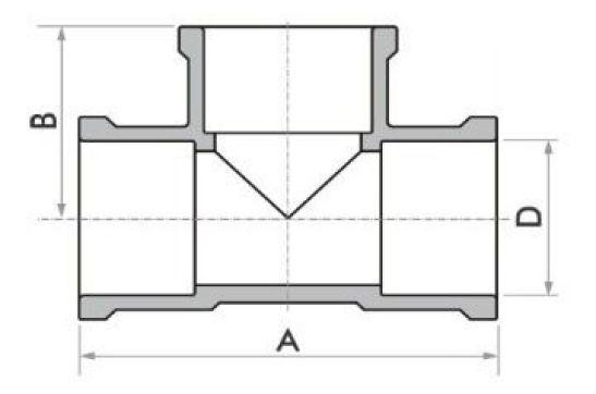 "Kit 5 Tee Soldável Fortlev 60 mm (2"" Pol.) Água Fria Marrom"