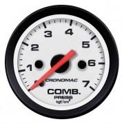 Manômetro Cronomac Street Pressão Combustível 7 bar 52mm Branco