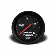 Manômetro Cronomac Street Pressão Turbo 2 bar 52mm Preto