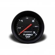Manômetro Cronomac Street Pressão Turbo 3 bar 52mm Preto
