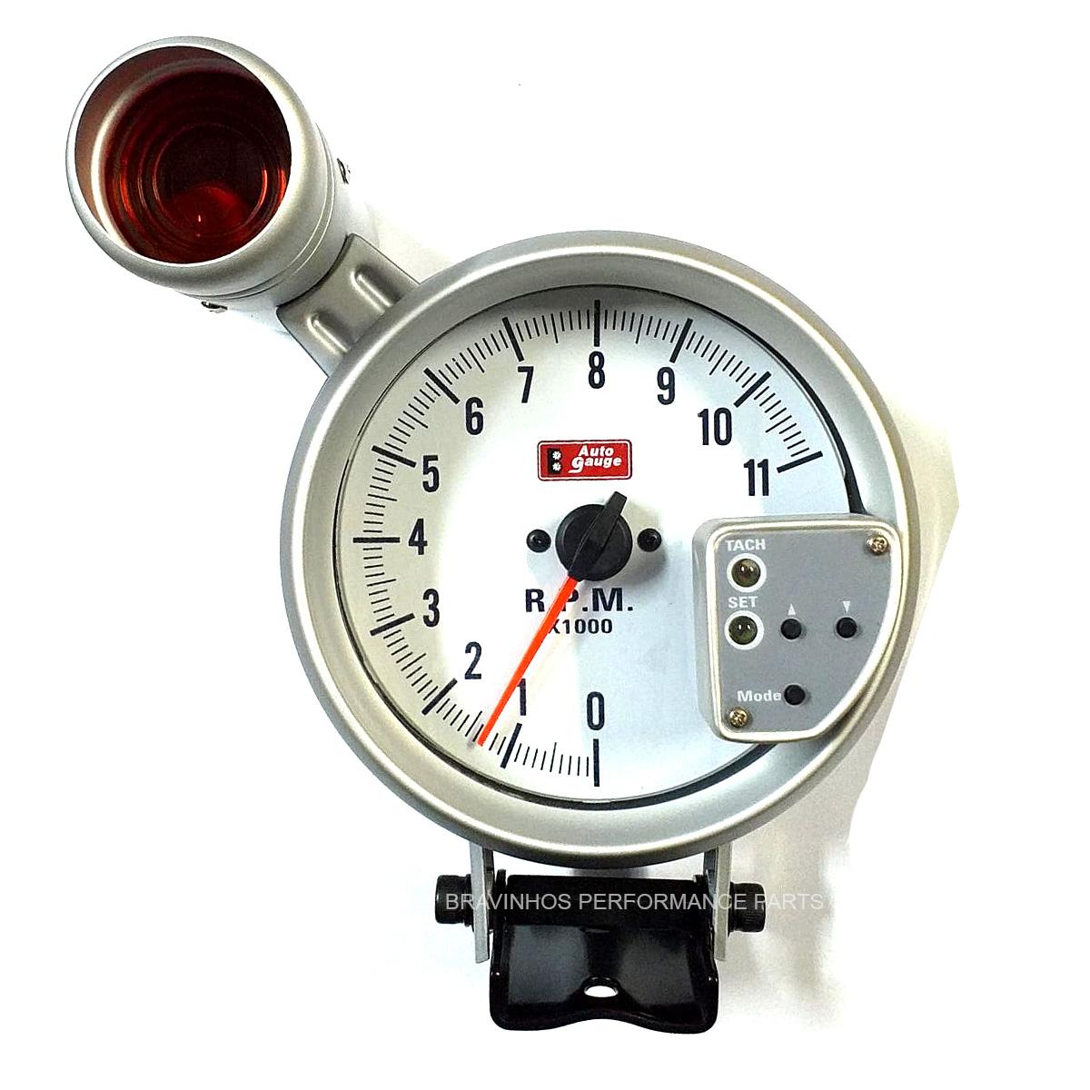 """Contagiros Auto Gauge Silver RPM 127mm 5"""" com Shift Light"""