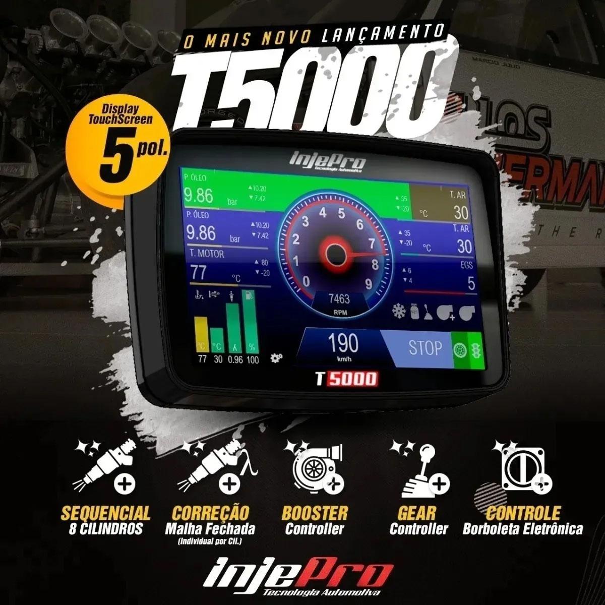 """Injepro T5000 Injeção Programável Tela Touch 5"""" Chicote 3 mts"""