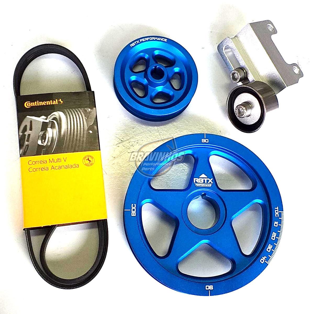 Kit de Polias VW Fusca em Alumínio com Correia Poli-V e Esticador
