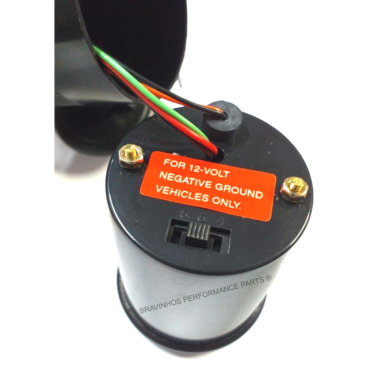 Manômetro Contagiros RPM 52mm 8000 RPM Carros 4c 6c 8c