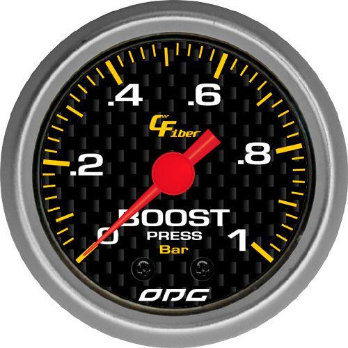 Manômetro ODG Carbon Pressão Turbo Boost 1 bar 52mm