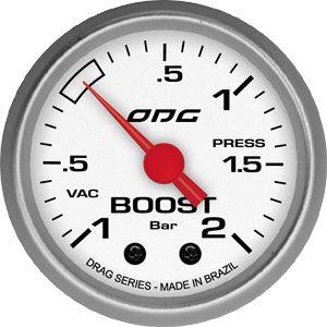 Manômetro ODG Drag Pressão Turbo Vácuo -1 a 2 bar 52mm