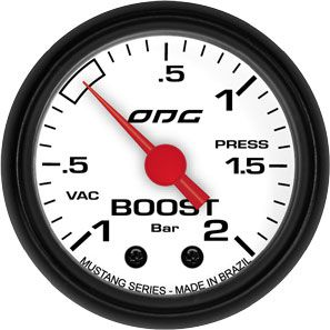 Manômetro ODG Mustang Turbo Boost Vácuo -1 a 2 bar 52mm