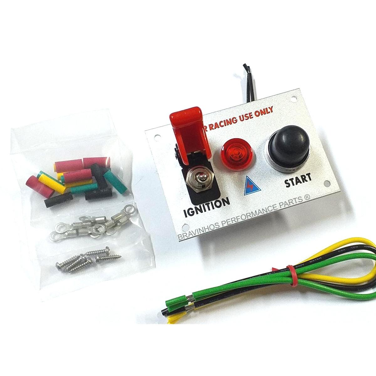 Painel com Botão Ignição e Chave Caça Automotivo 12v