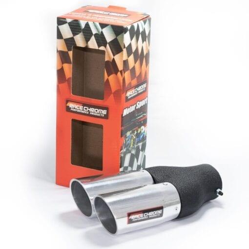Ponteira de Escape Esportiva Dupla Race Chrome Alumínio RC401