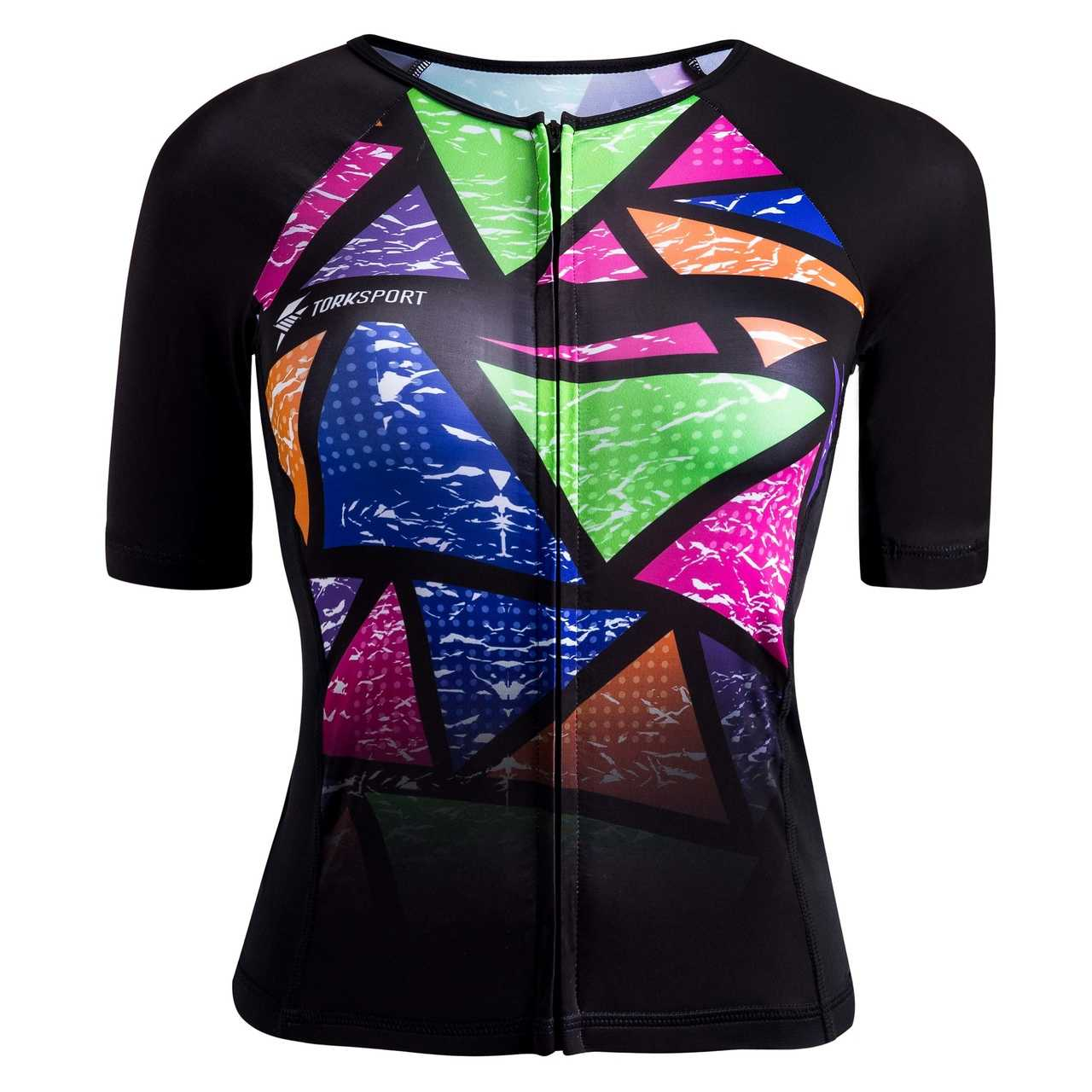 TOP COM MANGAS TRIATHLON FEMININO (COLORFUL TILES)
