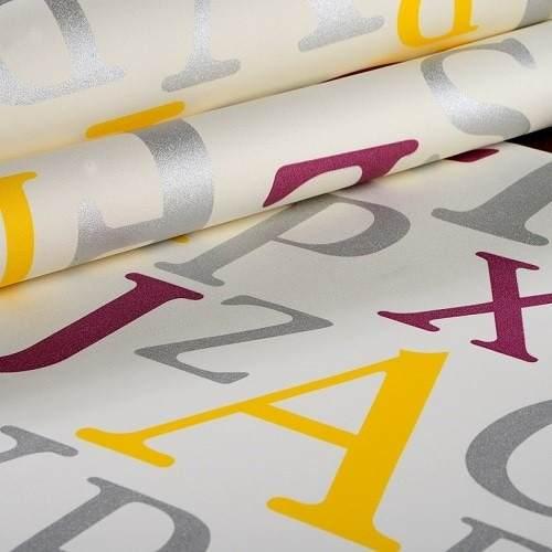 Papel De Parede Letras Quarto Vinílico Importado K620