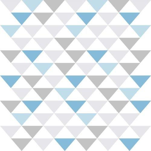Papel De Parede Adesivo - 50cmx3m - Triângulo Azul E Cinza