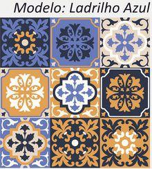 Ladrilho Azul - Kit 18 Adesivos 15x15 cm