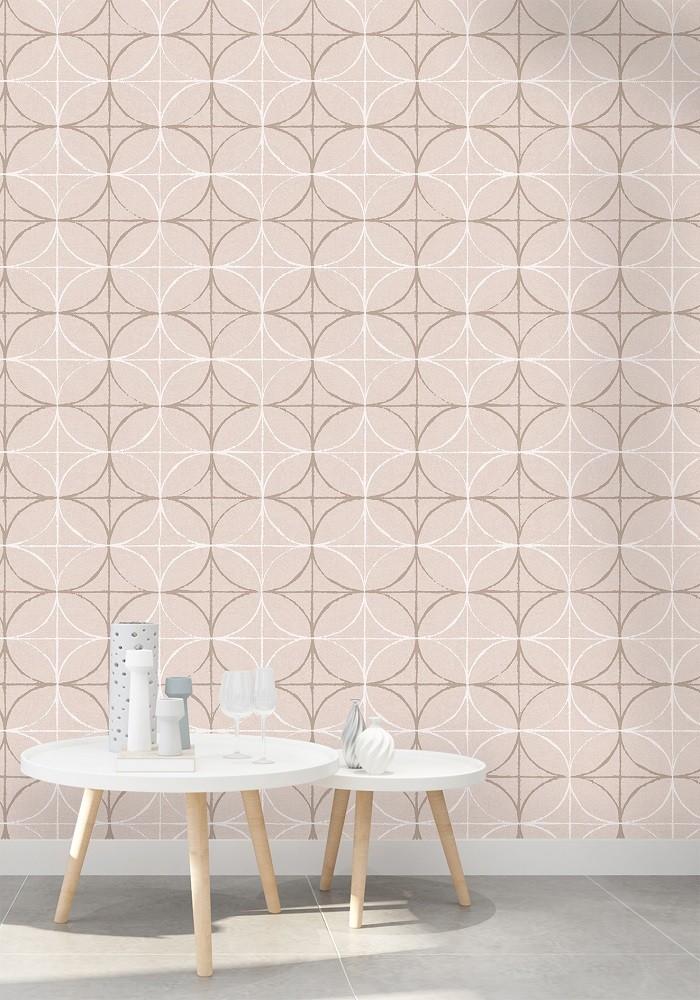 Papel De Parede Rosê Geométrico 3d Importado La5065
