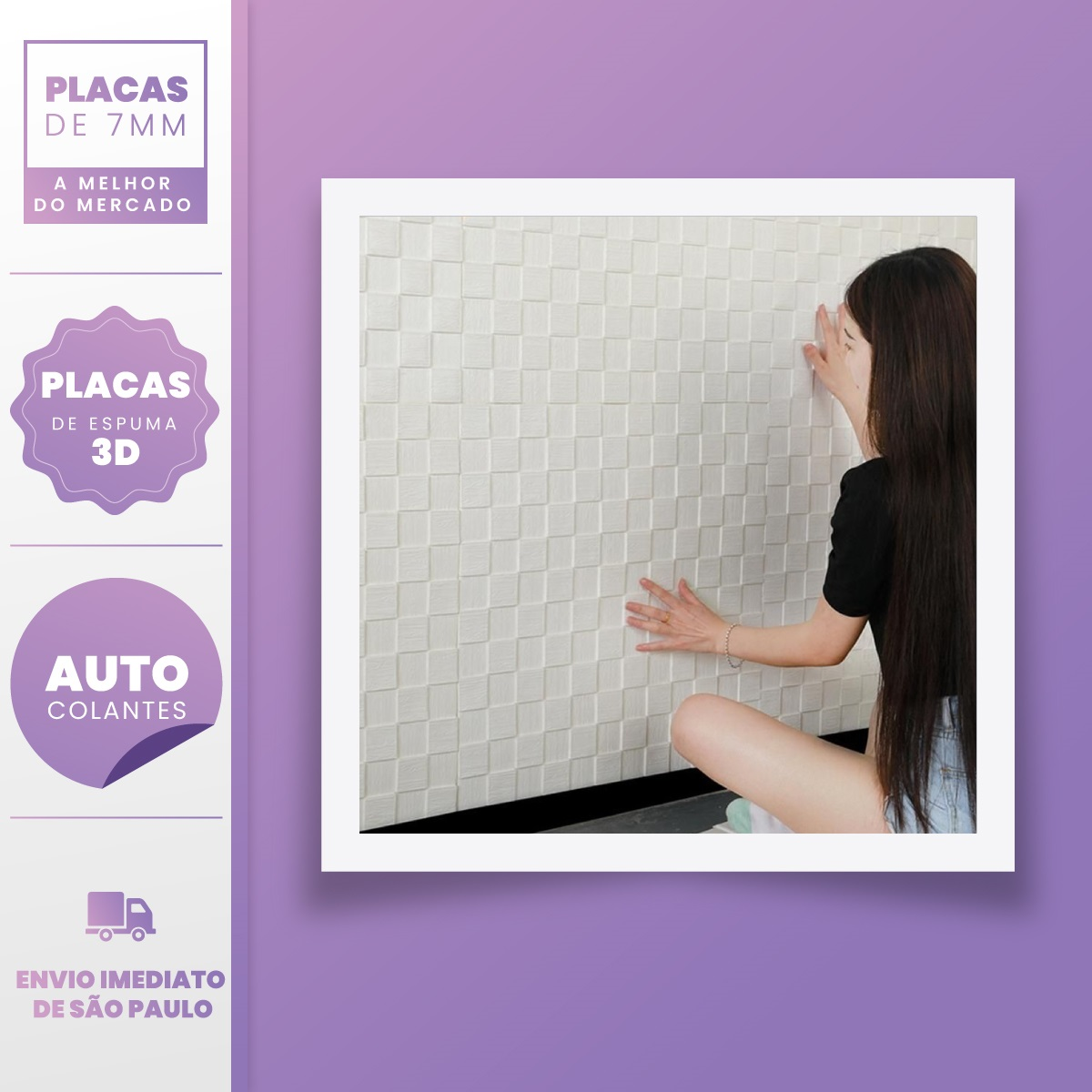 PLACA 3D ESPUMA MOSAICO MADEIRA BRANCO 70X70 7MM