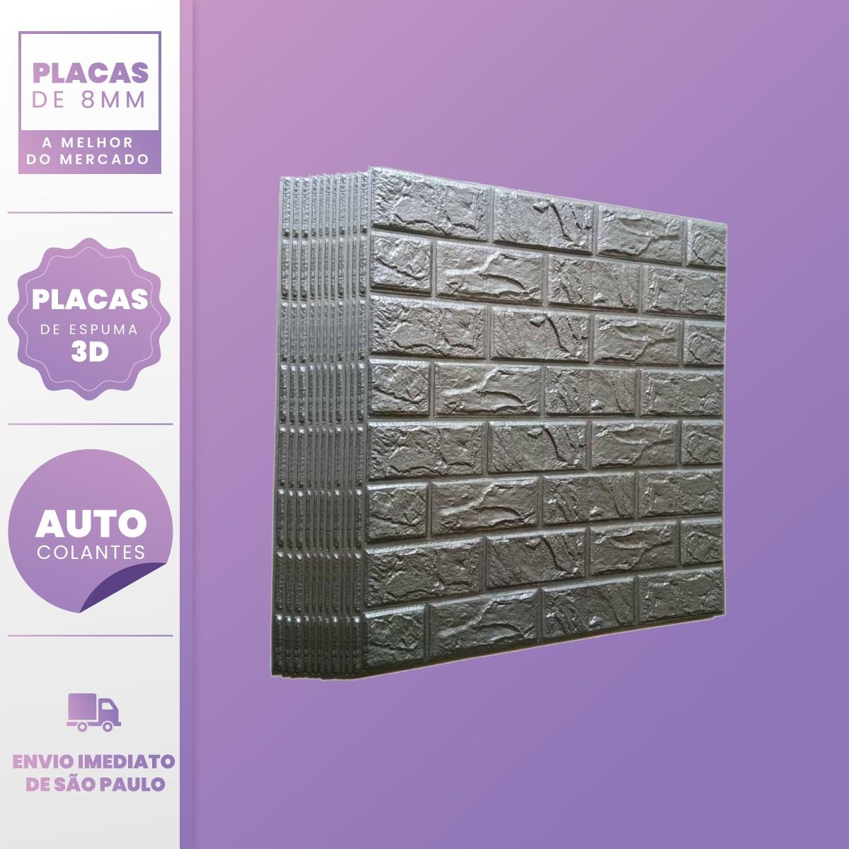 PLACA 3D ESPUMA TIJOLO CLASSICO CINZA 70X77 8MM