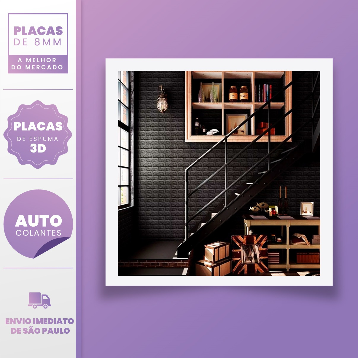 PLACA 3D ESPUMA TIJOLO CLASSICO PRETO 70X77 8MM