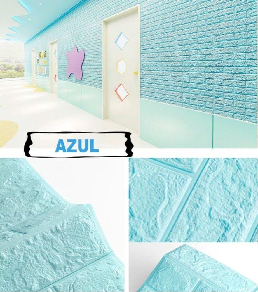 PLACA 3D ESPUMA TIJOLO CLASSICO AZUL 70X77 8MM