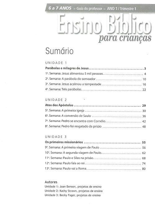 Ensino Bíblico Kids - 6 e 7 anos - Ano 1 Trimestre 1 - Revista do Aluno