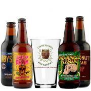Kit de Cervejas 5 Elementos contendo 4 Rótulos e um copo Hallertau