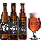 Kit de Cervejas Bodebrown Misto contendo 3 Rótulos com Taça