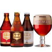 Kit de Cervejas Chimay contendo 3 Rótulos com Taça