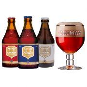Kit de Cervejas Chimay Misto com 3 Rótulos e Taça