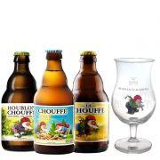 Kit de Cervejas Chouffe contendo 3 Rótulos e Taça Gratuita