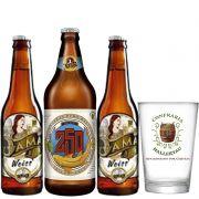 Kit de Cervejas Dama Bier com 3 rótulos e Copo Hallertau