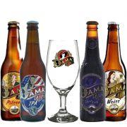 Kit de cervejas Dama Bier contendo 4 rótulos com Taça