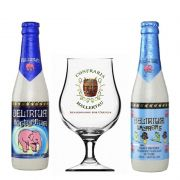 Kit de Cervejas Delirium com 2 Rótulos e Taça Hallertau 400 ml