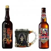 Kit de Cervejas Diabolici e Trooper com Caneca Castelo