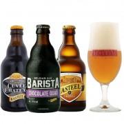 Kit de Cervejas Kasteel com 3 Rotulos e Taça De Leite