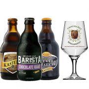 Kit de Cervejas Kasteel contendo 3 Rótulos com Taça Hallertau