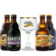 Kit de Cervejas Kasteel contendo 4 Rótulos com Taça 330 ml