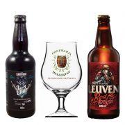 Kit de Cervejas Leuven com 2 Rótulos e Taça Hallertau