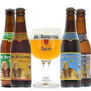 Kit de Cervejas St Bernardus contendo 4 Rótulos com Taça