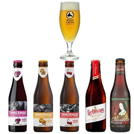 Kit de Cervejas Timmermans + Liefmans + Duchesse com Taça Brasserie de Bastogne