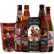 Kit de Cervejas Trooper Iron Maiden com 5 Rotulos com Copo Pint