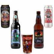 Kit de Cervejas Trooper Iron Maiden contendo 4 rótulos e copo Pint