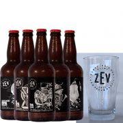 Kit de Cervejas Zev contendo 5 Rótulos com Copo Pint