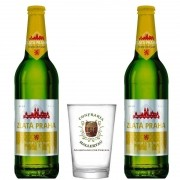 Kit de Cervejas Zlata Praha com copo Confraria Hallertau