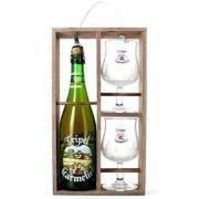 Kit Tripel Karmeliet com Cerveja e 2 Taças em caixa de Madeira