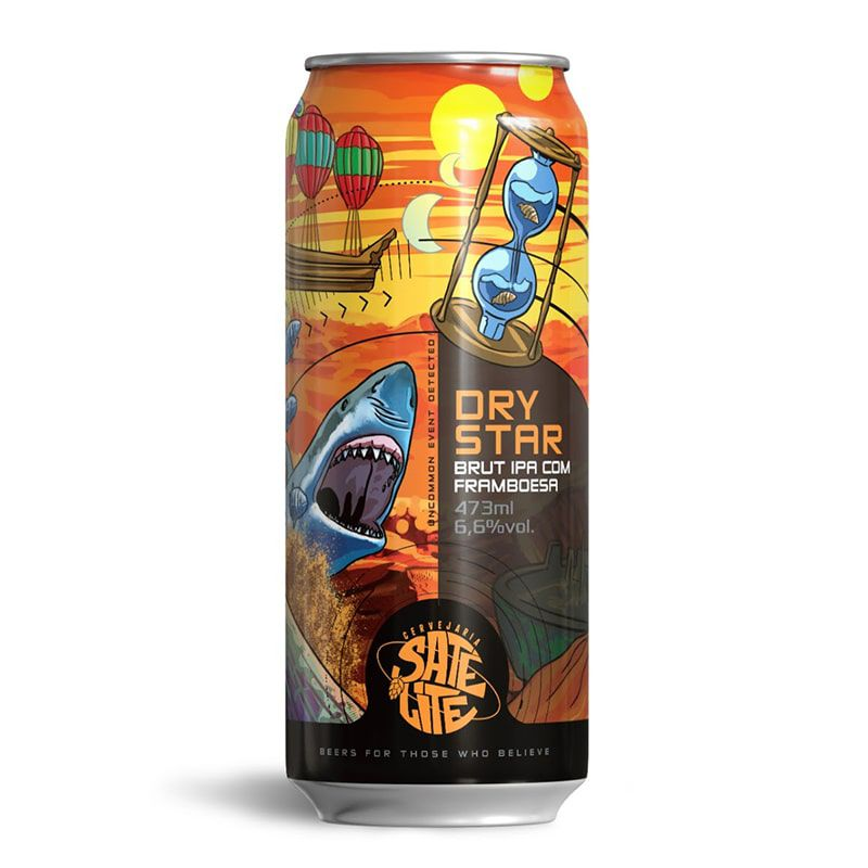 Cerveja Satélite Dry Star Brut Ipa com Framboesa 473 ml