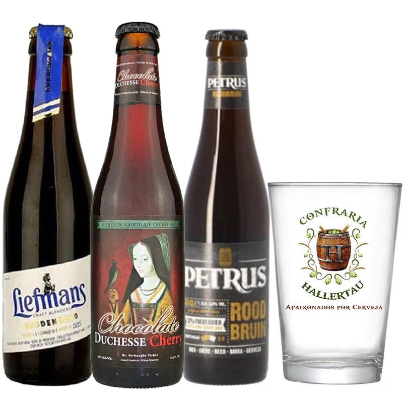 Kit de Cervejas Belgas Mistas com Copo Hallertau
