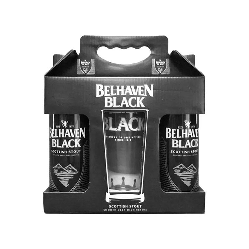 Kit de Cervejas Belhaven Black Scottish Stout com Copo Pint