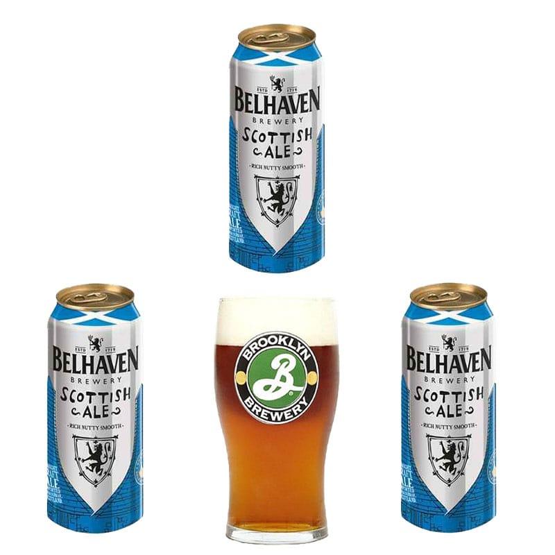 Kit de Cervejas Belhaven com copo Brooklyn
