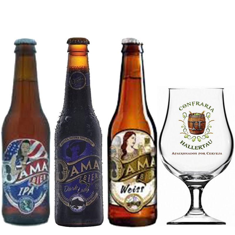 Kit de Cervejas Dama Bier com 3 rótulos e Taça Hallertau